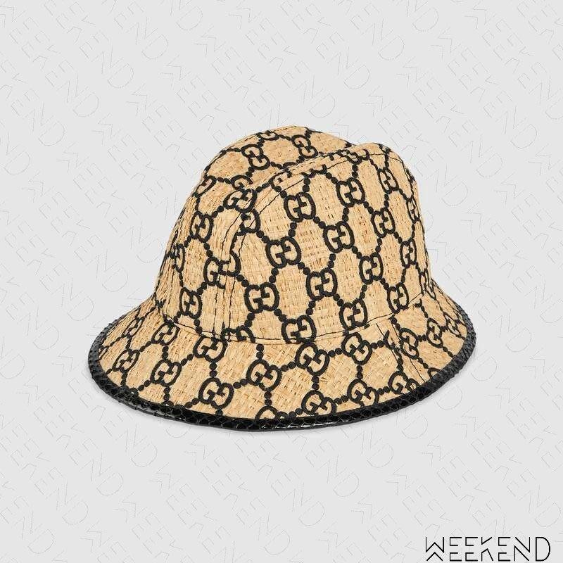 【WEEKEND】 GUCCI GG Fedora Hat Logo 編織 異材質拼接 帽子 19春夏 577905