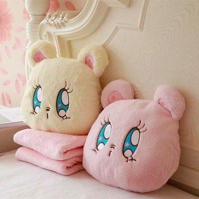 【甜心小姐】可愛櫻花小熊二合一毛絨抱枕靠墊空調毯