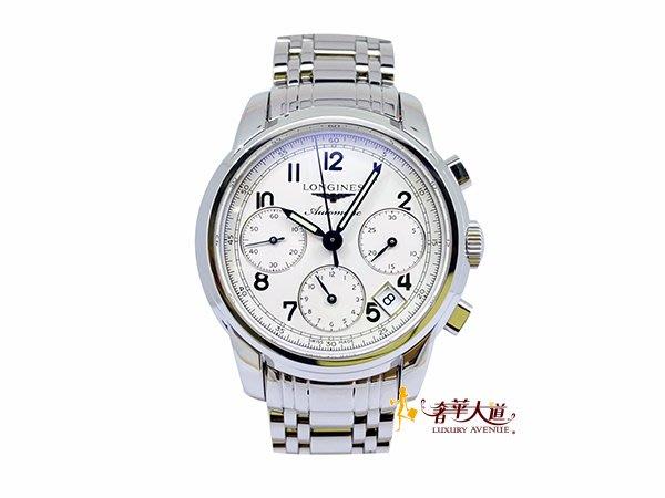 *奢華大道國際精品*【W0507】浪琴Longines 三眼不鏽鋼39MM機械腕錶L2.753.4.73.6