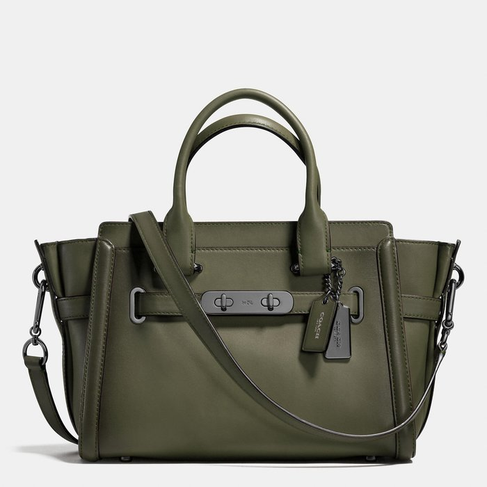 Coco小舖 COACH 38372 S wagger 27 in Burnished Leather  卡其綠色