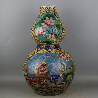 ㊣三顧茅廬㊣ 元代景泰藍琺瑯彩掐絲戲獅紋葫蘆瓶 出土文物古瓷器 古玩收藏品