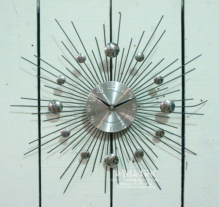 ~*歐室精品傢飾館*~美式鄉村 新古典 現代 設計 放射 點點 金屬 造型 掛鐘 時鐘 壁飾 牆面 裝飾 ~新款上市~