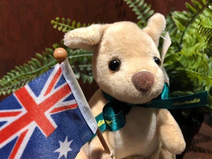 澳洲袋鼠娃娃(國旗綠緞帶版)澳洲製造