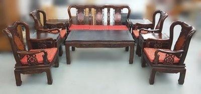 全新庫存家具買賣 二手家具買賣推薦 新竹地區免運ZM111017*戰國雞翅木10件式組椅*中古傢俱家電 原木木板椅 茶几
