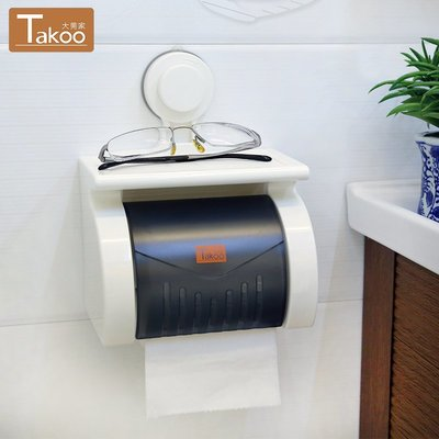 衛生間紙巾盒吸盤廁紙盒免打孔吸壁式捲紙筒創意防水廁所衛生紙架