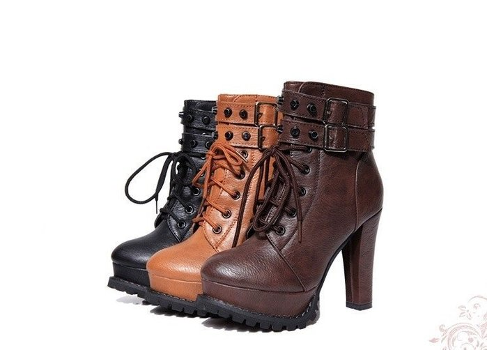 GOGO SHOP☆╭时尚迷人復古防滑綁帶高跟馬丁靴【S3030】35~39碼短靴時尚機車靴 馬丁鞋側拉鏈高跟短靴