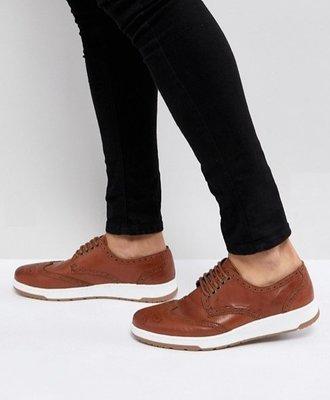 ◎美國代買◎ASOS白色鞋底搭配皮革雕花鞋帶款設計英倫紳士雅痞休閒風雕花鞋帶款休閒鞋~歐美街風~大尺碼