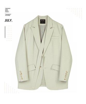 My fit guys 個性 西裝外套 VE 小西外套 設計款 長袖外套 寬鬆 斜邊帶 淡綠 預購