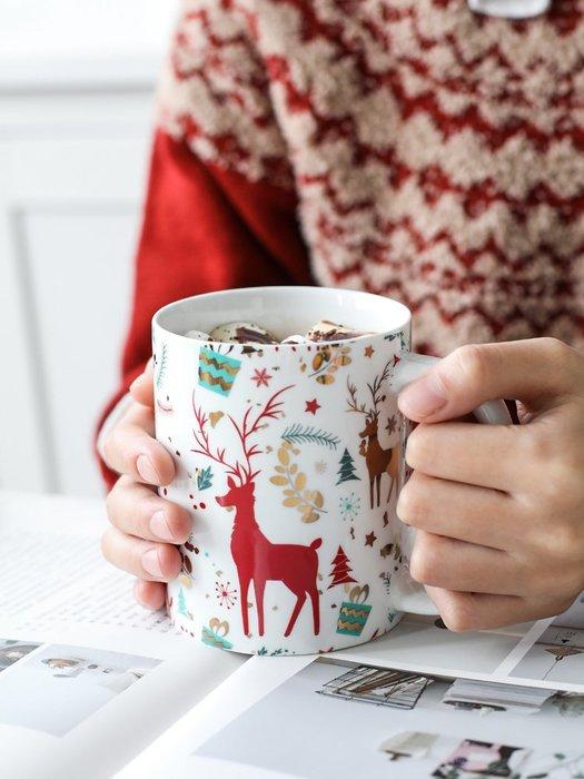 奇奇店-圣誕麋鹿小熊陶瓷馬克杯情侶杯茶杯水杯辦公室咖啡杯B-145#簡約 #輕奢 #格調
