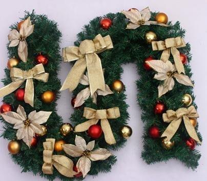 【優上精品】270CM2.7M蝴蝶結聖誕花聖誕球裝飾點綴聖誕藤條 聖誕節裝飾(Z-P3185)