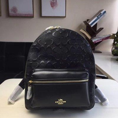 Melia 米莉亞代購 COACH 2019ss 11月新品更新 32083 雙肩包 後背包 真皮 立體C紋 黑色 杏色