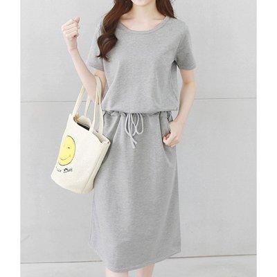 【Hao Da】全館399免運↘「M~XL。現貨」素色口袋 綁帶縮腰 長洋裝 (P1117)