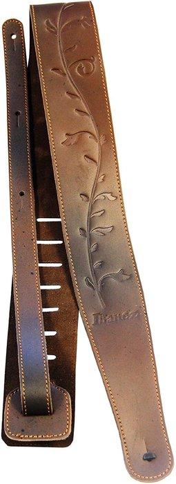 【六絃樂器】全新 IBANEZ LS65TL-BRE 原廠真皮咖啡色生命樹 吉他背帶/ 現貨特價