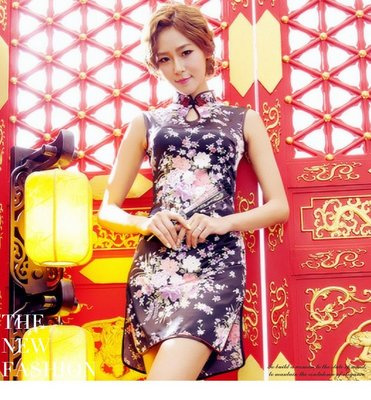 New fashion floral dress retro girl skirt casual cheongsam