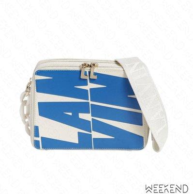 【WEEKEND】 LANVIN Small Toffee 大Logo 小款 皮革 肩背包 白+藍色