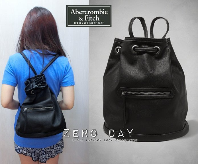 A&F Abercrombie&Fitch Faux Leather Bucket Backpack機車包感黑皮革後背包