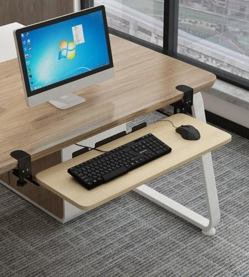 #熱賣#鍵盤托架免打孔電腦抽屜托架免安裝桌面滑軌夾桌下支架滑鼠收納架#鍵盤托架#抽屜托架
