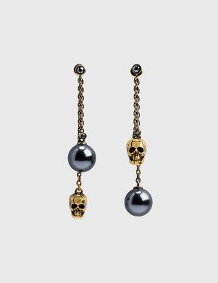 Alexander McQueen Pearl-like Skull Chain Drop Earring 珍珠骷髏耳環 義大利製 精品配件
