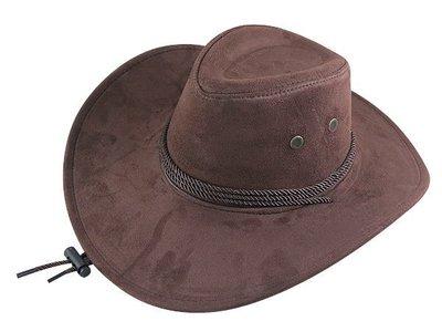 【二鹿帽飾】雞皮 皮繩滾邊 高質感牛仔帽/ 西部帽/ 牛仔帽/表演帽/國小以上表演專用帽-深咖啡