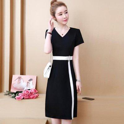 商品折扣中 大尺碼洋裝短袖連身裙遮肚洋氣女裝胖mm顯瘦黑白撞色開叉裙子