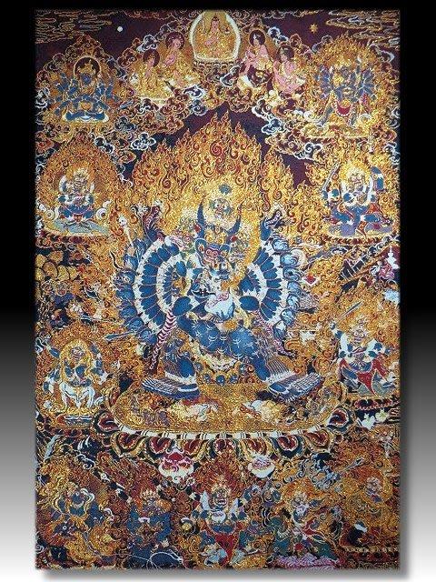 【 金王記拍寶網 】S1629  中國西藏藏密佛像刺繡唐卡  刺繡 (大張) 一張 完美罕見~
