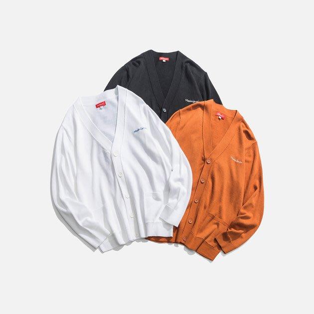 FINDSENSE 2019 秋季上新 G7 三色開衫刺繡素面毛衣 男裝 上衣