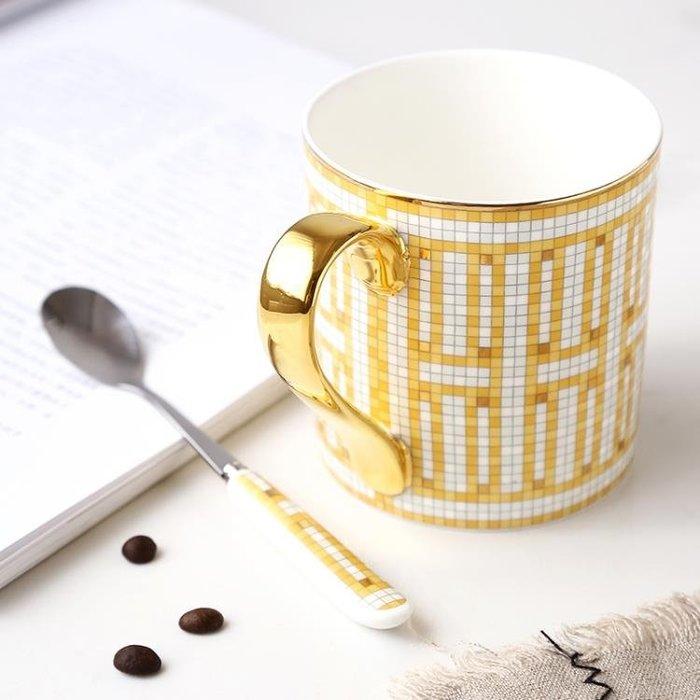 法國高檔骨瓷馬克杯外貿出口歐式咖啡杯馬克杯子手工描金邊陶瓷杯