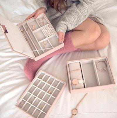 [SECOND LOOK]英國雜貨 Stackers 粉灰色 絨布 有蓋 珠寶盒 首飾盒 格子盒