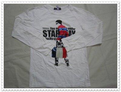 五一元起標無 底價 二手美品【 INTER MANIA】白色 圖紋 長袖 T恤 - M04