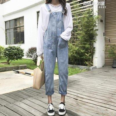 ZIHOPE 春季女新款韓版學生可愛休閒背帶牛仔褲寬鬆長褲子時尚洋氣連體褲ZI812