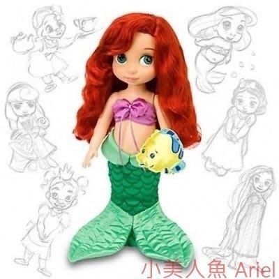 現貨【迪士尼 Disney】全新美國正品 手繪Q版娃娃 小美人魚 愛瑞兒 Ariel【高約40公分】