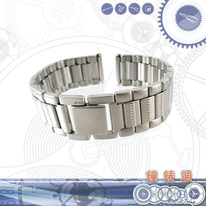 【鐘錶通】板折帶 金屬錶帶 B 50S17- 17 mm 銀