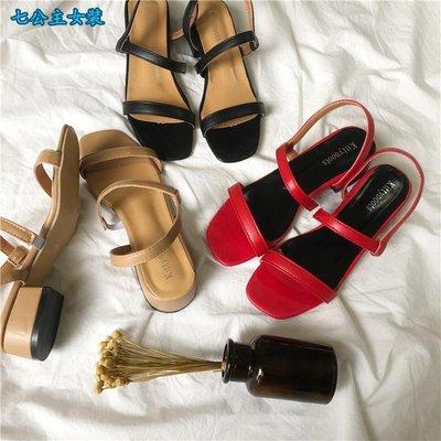 七公主女裝-夏季復古chic韓風粗跟涼鞋女一字式漏腳趾女鞋
