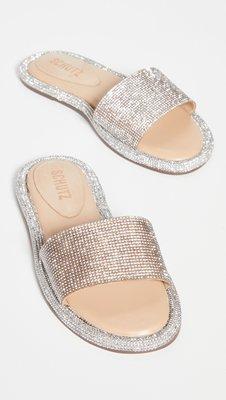 ◎美國代買◎Schutz Alcina 鑲滿迷你水鑽寛版皮帶疫情也能閃亮亮的blingbling寛版水鑽皮帶全水鑽涼拖鞋