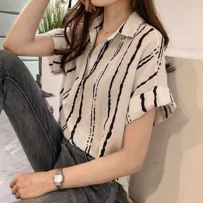 ❤Princess x Shop❤夏裝新款韓版寬鬆顯瘦休閒條紋襯衫DT806035正韓洋裝一字領露肩性感