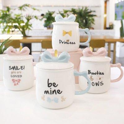 禧禧雜貨店-簡約創意可愛馬克杯帶蓋勺水杯子文藝陶瓷咖啡杯大容量女家用牛奶#新款