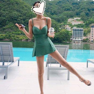 泳衣 泳裝 性感 聚攏 顯瘦 韓國學生泳衣女保守連體裙式遮肚顯瘦大小胸聚攏性感溫泉游泳衣