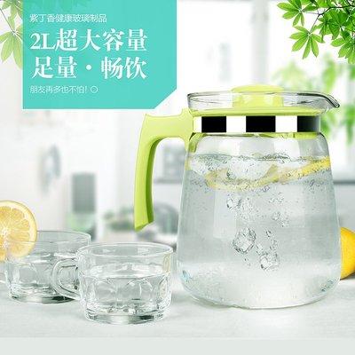 耐高溫玻璃涼水壺大容量紮壺開水茶壺冷水壺水具果汁壺套裝「芊芊思語 」(可開立發票)