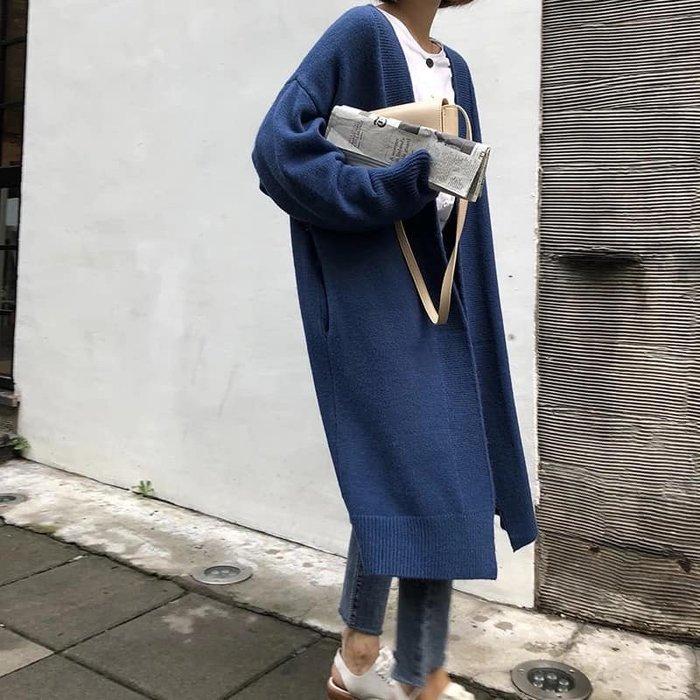 *T.M.L room*  秋冬新款韓版寬鬆針織中長款毛衣外套