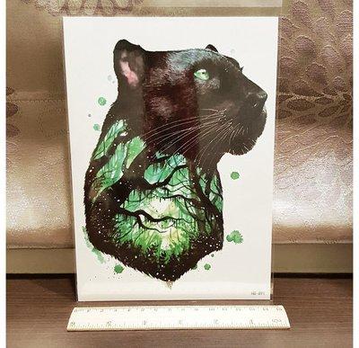【萌古屋】黑豹森林手臂大圖 - 男女防水紋身貼紙刺青貼紙 HB-891