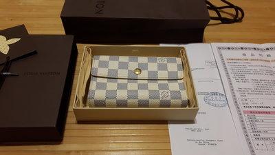 近全新LV N63068 時尚經典Damier棋盤格紋/中夾 Yahoo購物中心購買 附購買證明