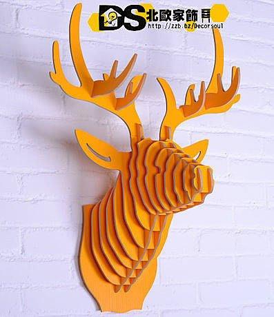 DS北歐家飾§ 復古仿舊LOFT 設計復刻 亮黃色 鹿頭壁掛 牆壁裝飾 簡約壁飾掛件鄉村風格裝潢設計創意歐式文創組合文藝