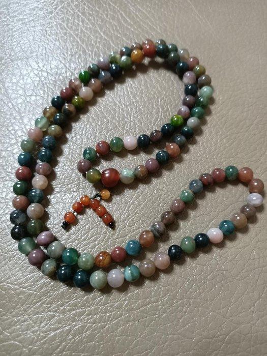 半寶石七彩玉念珠 佛珠 手串 飾品 108顆