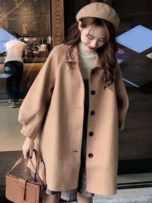 秋冬2018流行大衣新款韓版寬鬆中長款小個子森系毛呢外套女學生潮