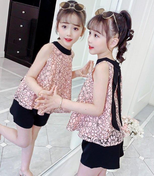 •*~ 辣媽咪衣飾小舖 ~*•❤童裝系列❤K960481韓版大童夏款時髦性感露肩上衣+短褲二件套