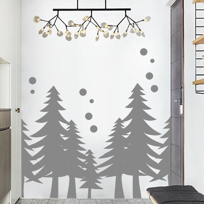 壁貼自粘貼紙地貼墻貼玻璃貼大型樹林創意個性ins風背景墻貼紙氣氛櫥窗玻璃門裝飾品布置貼畫 嘉義百貨