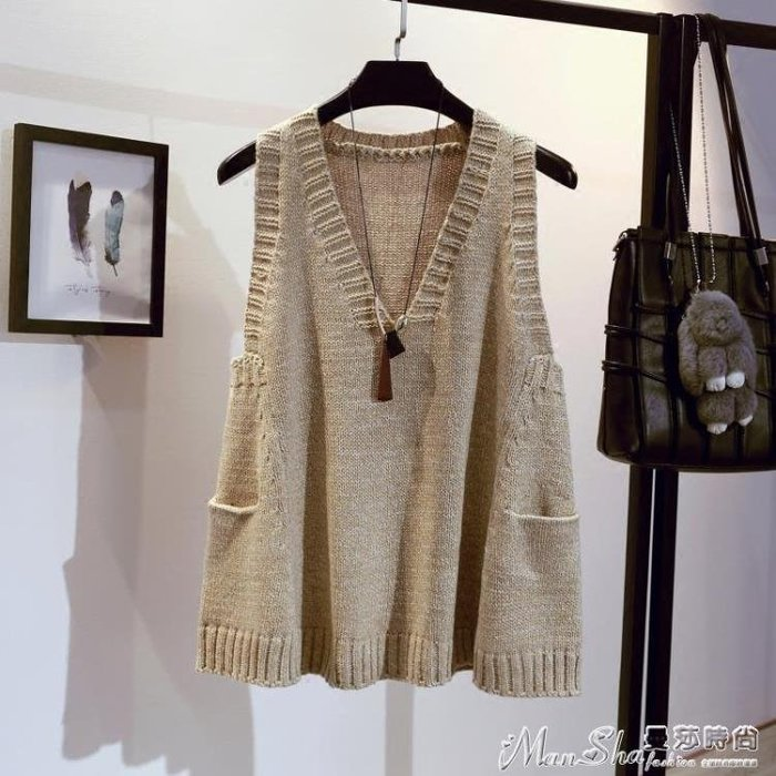 熱銷針織馬甲馬甲女套頭中長款春秋季韓版寬鬆V領背心無袖針織衫外套加厚