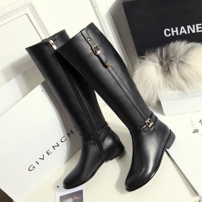 【MISS.LENG】歐美真皮瘦腿及膝長靴女高筒騎士靴粗跟低跟圓頭女鞋(黑色)33-42碼