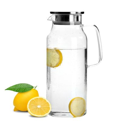 北歐 簡約 大容量 冷水壺 1700ml 涼水壺 高硼矽 耐熱玻璃 錐形 茶壺 水瓶 露營 野餐 冷飲 果汁
