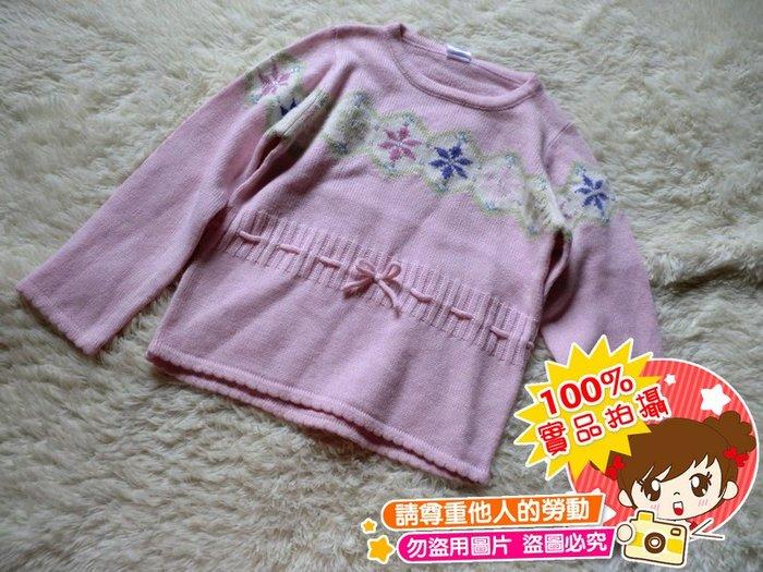 ❤厤庭童裝舖❤最後一件【E470】粉色珠珠針織毛衣/長袖T恤/上衣(6T)
